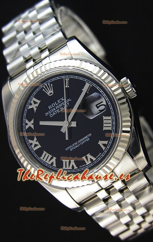 Rolex Datejust 36MM Cal.3135 Movement Reloj Réplica Suizo Dial Negro Jubilee Strap - Ultimate 904L Steel Watch
