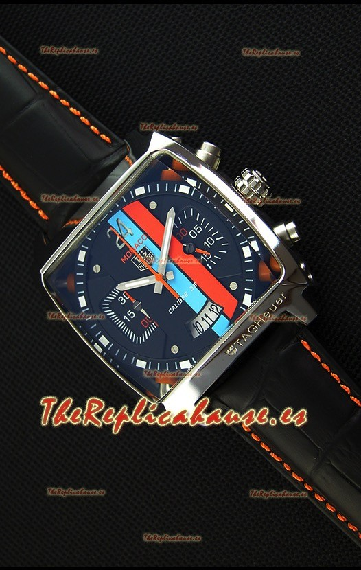 Tag Heuer Monaco 24 Reloj Réplica en Cuarzo con Dial en Rayas Azules y Rojas