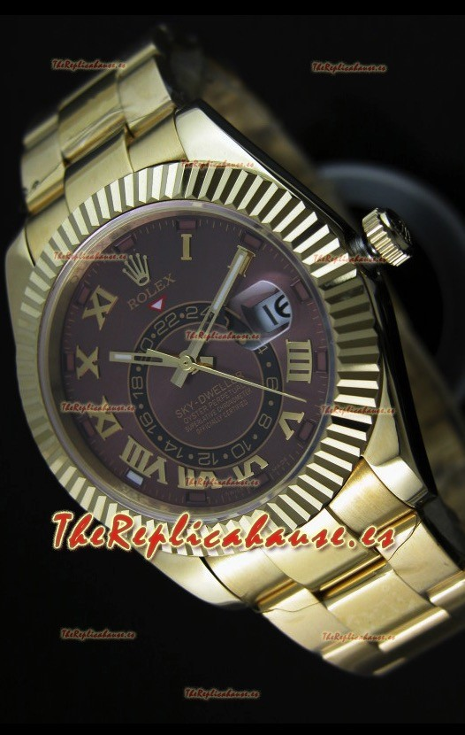 Rolex Sky-Dweller Reloj de Oro Amarillo de 18K en Dial Marrón y Numerales Romanos