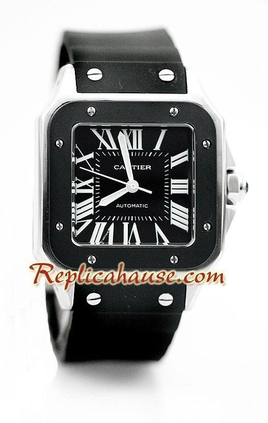 0e8d1298f583 Cartier Santos 100 Reloj con correa de caucho