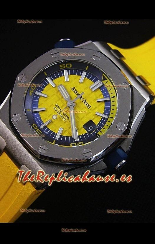 e71a7741eaba Audemars Piguet Royal Oak New Diver Reloj Replica Suizo a escala 1 1 Color  Amarillo