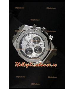 Audemars Piguet Royal Oak Reloj Cronógrafo en Acero Inoxidable Caja y Bisel en Blanco