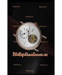 Breguet Classique Reloj Réplica Suizo Tourbillon en Oro Rosado con Bisel de Diamantes