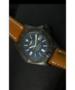 Breitling Seawolf Reloj Suizo con Revestimiento PVD en Correa Marrón