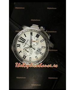 Calibre De Cartier, Reloj cronógrafo Réplica Japonesa, en acero inoxidable