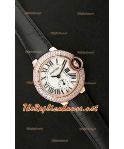 Ballon De Cartier Reloj para Señoras en Oro Rosa con Correa de Piel Negra