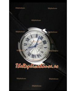 Cle De Cartier Reloj con Caja de Acero 40MM y Correa de Piel - Réplica Espejo 1:1