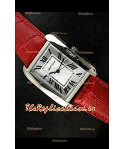 Cartier Tank para damas Réplica Cascasa de acero/Malla roja