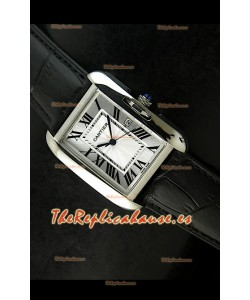 Cartier Tank para damas Réplica Cascasa de acero/Malla negra