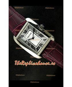 Cartier Tank para damas Réplica Cascasa de acero/Malla marrón