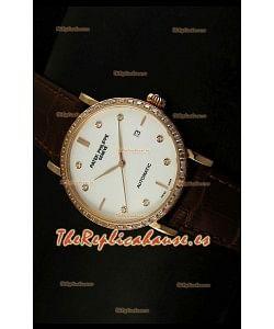 Patek Philippe Calatrava 5298 Reloj Réplica Suiza en Oro Rosado - Horas en Diamantes