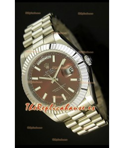 Rolex Day Date II, Reloj Réplica Suiza 41MM - Dial Marrón - réplica en escala 1:1