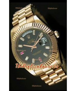 Rolex Day Date II, Reloj Réplica Suiza 41MM - Dial Negro - réplica en escala 1:1