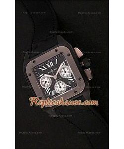 Cartier Santos 100 XL Reloj Cronógrafo Suizo de Carbón/ Titanio - Reproducción Escala 1:1