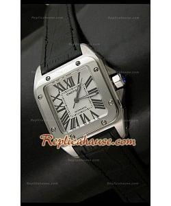 Cartier Santos 100 Reloj Suizo Automático para Mujeres en Piel Negra - 33MM