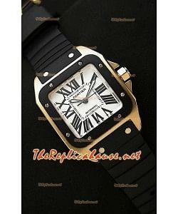 Cartier Santos 100 Reloj Suizo para Señoras en Oro Rosa - 33MM - Réplica a Escala 1:1