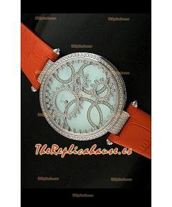 Cartier Réplica Bisel de diamantes Carcasa de acero inoxidable/naranja