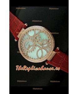 Cartier Réplica Bisel de diamantes Carcasa de oro/Malla marrón
