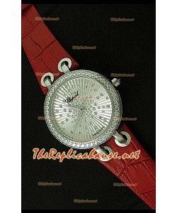 Chopard Xtraveganza Reloj para Señoras con Diamantes Incrustados en Carcasa y Correa Marrón