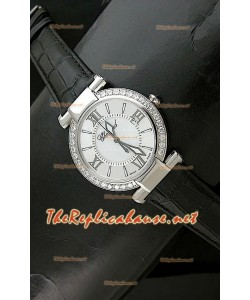 Chopard Ladies Imperiale Swiss Watch en cuero negro