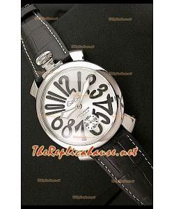 GaGa Milano Reloj Manual en Acero 48MM  - Números en Negro