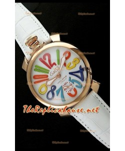 GaGa Milano Reloj Manual con Carcasa de Oro Rosa - 48MM