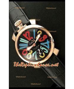 GaGa Milano Reloj Manual con Carcasa de Oro Rosa - Números en Colores