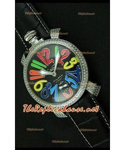 Reloj japonés GaGa Milano Manuale con esfera negra y marcadores de hora de colores