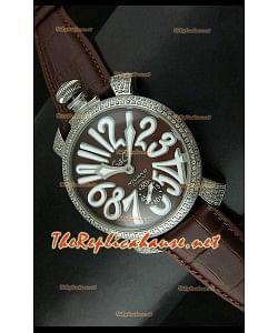 Reloj japonés GaGa Milano Manuale con esfera marrón