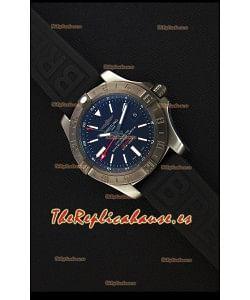 Breitling Avenger II BlackSteel GMT Reloj Réplica Suizo Correa de Goma Reloj Réplica a Espejo 1:1