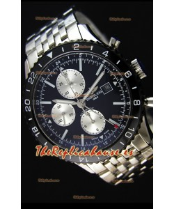 Breitling Chronoliner Reloj Réplica Suizo Correa de Malla de Acero color Negro con Dial Negro