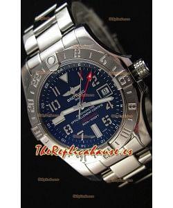 Breitling Avenger II GMT Reloj Réplica Suizo con Dial Negro Steel Strap Réplica a Espejo 1:1 Version