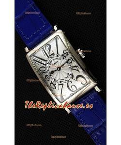 Franck Muller Long Island Ladies Reloj Réplica con Movimiento de Cuarzo Suizo correa color Azul