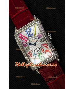 Franck Muller Long Island Color Dreams Ladies Reloj Réplica Suizo - Correa color Rojo
