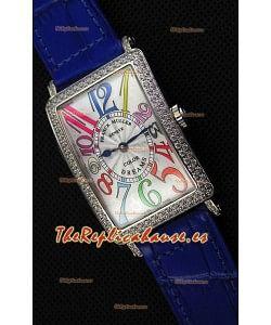 Franck Muller Long Island Color Dreams Ladies Reloj Réplica Suizo - Correa color Azul