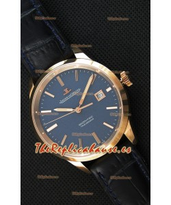 Jaeger LeCoultre Geophysic True Second Reloj Réplica Suizo en Oro Rosado Dial en color Azul