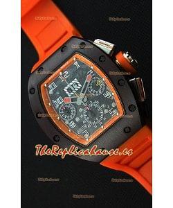 Richard Mille RM011-FM Felipe Massa Reloj Caja de Cerámica de una Sola Pieza correa en color Naranja