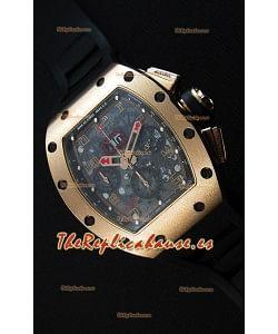 Richard Mille RM011-FM Felipe Massa Reloj en caja de Titanio chapada en Oro Rosado, correa Negra