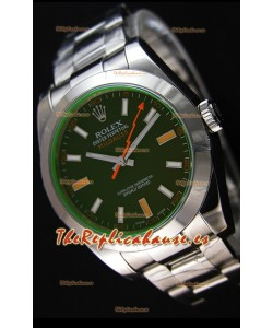 Rolex Milgauss 116400M Reloj Suizo con Dial en Negro - Último Reloj de Acero 904L
