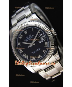 Rolex Datejust 36MM Cal.3135 Movement Reloj Réplica Suizo Dial Negro Oyster Strap - Ultimate 904L Steel Watch