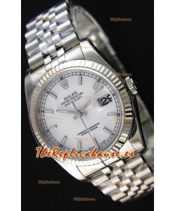 Rolex Datejust 36MM Cal.3135 Movement Reloj Réplica Suizo Dial Blanco Jubilee Strap - Ultimate 904L Steel Watch