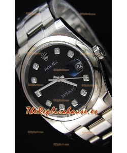 Rolex Datejust 36MM Cal.3135 Movement Reloj Réplica Suizo con Dial Impreso color Negro