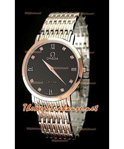 Omega Deville Reproducción Japonesa Reloj para Hombre en dos Tonos  - Esfera de color Negro