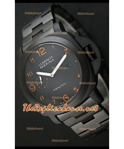 Reloj de esfera negra Panerai Luminor Marina Black con marcadores de hora naranjas.