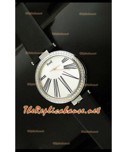 Piaget Altiplano Reloj de Cuarzo Suizo con Esfera de Hora en Correa de Piel Negra