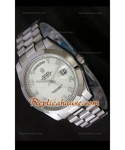 Rolex DayDate Reproducción Reloj Suizo con Esfera Blanca
