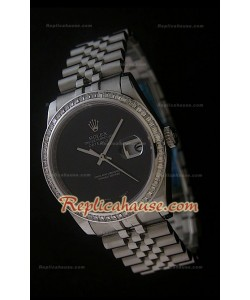 Rolex Datejust Reproducción Reloj Suizo con Esfera de color Negro