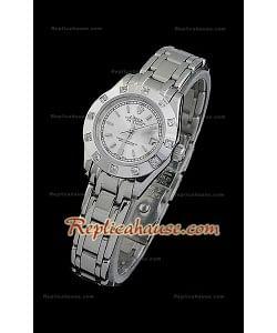 Rolex Datejust Reproducción Reloj Suizo para Señoras con Esfera Metálica