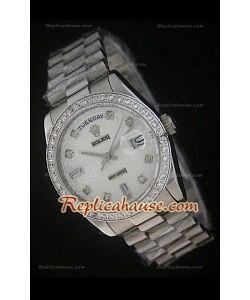 Rolex DayDate Reproducción Reloj Suizo Esfera Blanca Impresa