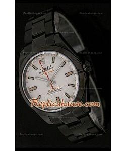 Réplica Reloj Suizo Rolex Edición  Milgauss Blackout  con Esfera Blanca